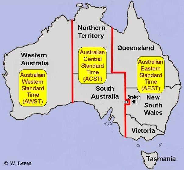 Australia czas. Strefy czasowe w Australii.