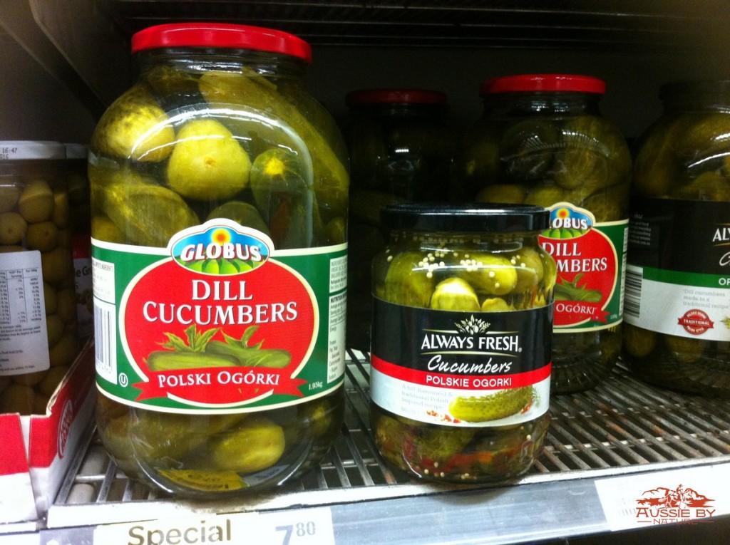 polskie ogorki made in India na półce w supermarkecie w Australii